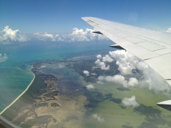 flying over cancun
