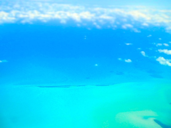 caribbean ocean from airplane