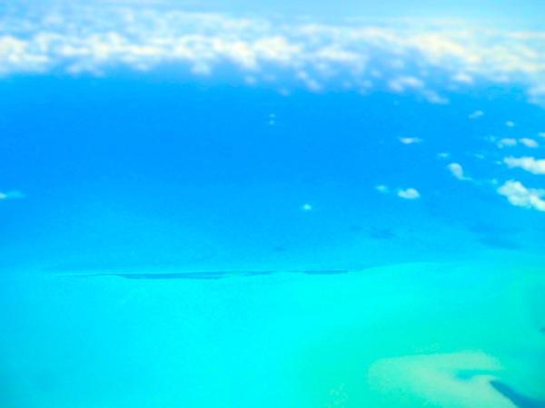 caribbean ocean from airplane